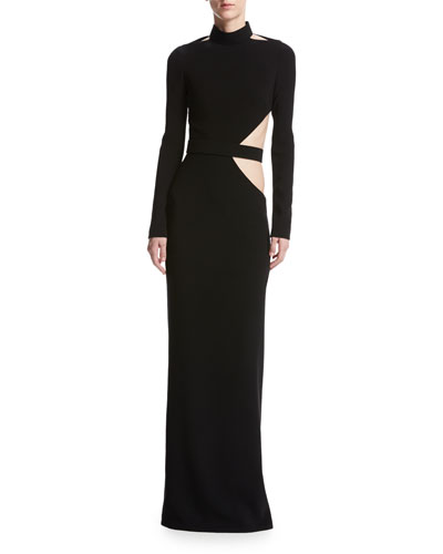 Long-Sleeve Crepe Cutout Gown, Black