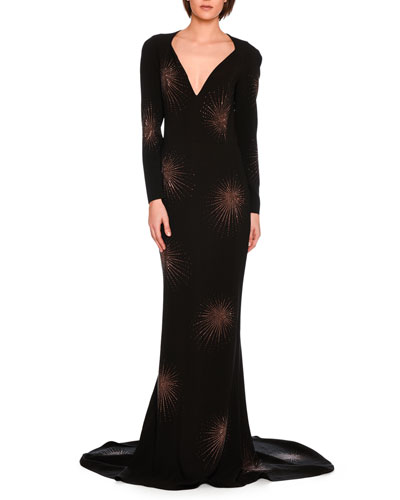 Layla Embellished Starburst Fishtail Gown, Black