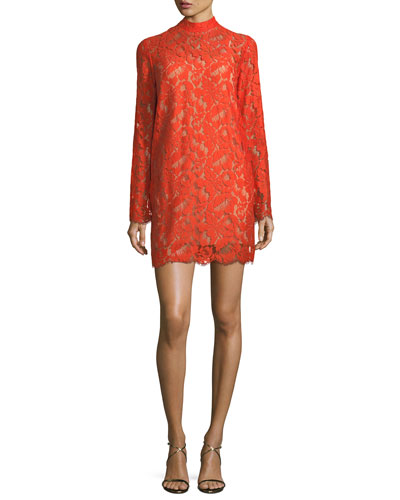 Cayla Long-Sleeve Lace Handkerchief-Hem Dress