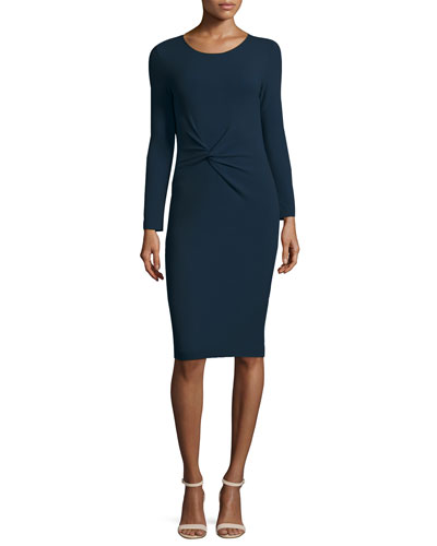 Pebbled Jersey Long-Sleeve Knot Dress, Royal