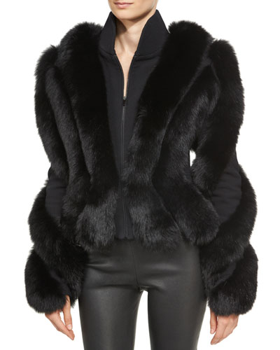 Spiral-Sleeve Fox Fur Jacket, Black