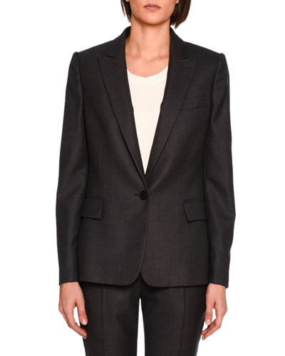 Ingrid Single-Breasted Jacket, Charcoal