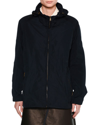 Sporty Zip-Front Jacket, Navy