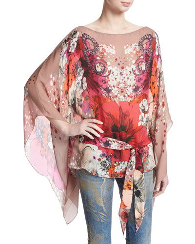 Garden of Eden Floral-Print Chiffon Caftan Tunic, Pink/Red
