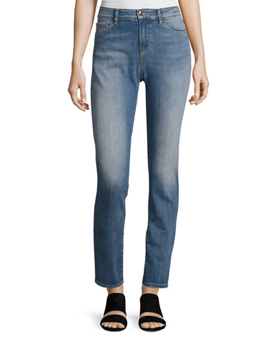 High-Waist Vintage-Wash Skinny Jeans, Blue