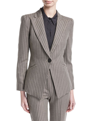 Mini-Herringbone Peak-Lapel Blazer