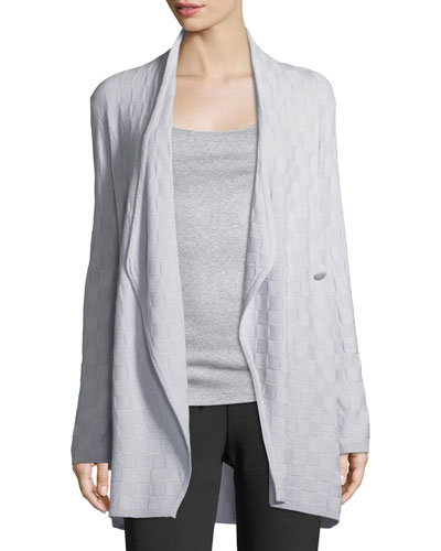 Check Cashmere Draped Cardigan