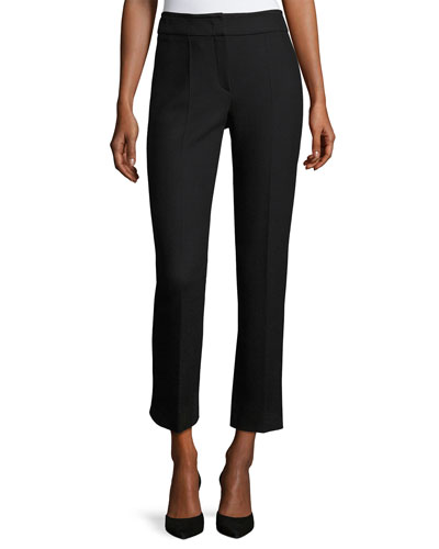 Textured Stretch-Wool Slim Ankle Pants, Black