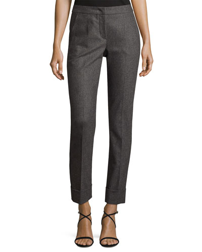 Flannel Cashmere-Blend Slim Cuffed Pants, Gray