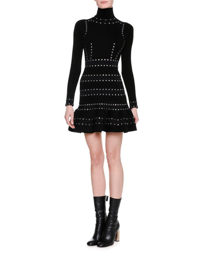 Sculpted Chenille Turtleneck Dress with Eyelet Trim, Black