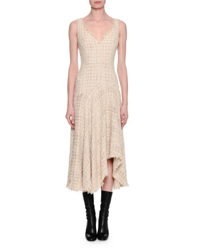 Metallic Tweed Sleeveless Draped Midi Dress, Ivory