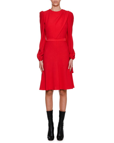 Long-Sleeve Crepe Draped-Bodice Dress, Scarlet