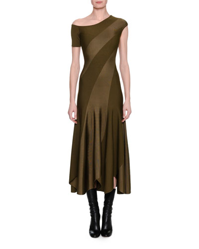 Spiral-Knit Bias-Cut Midi Dress, Khaki