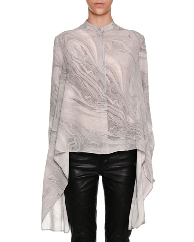 Marble-Print A-Line Handkerchief-Hem Shirt, Gray