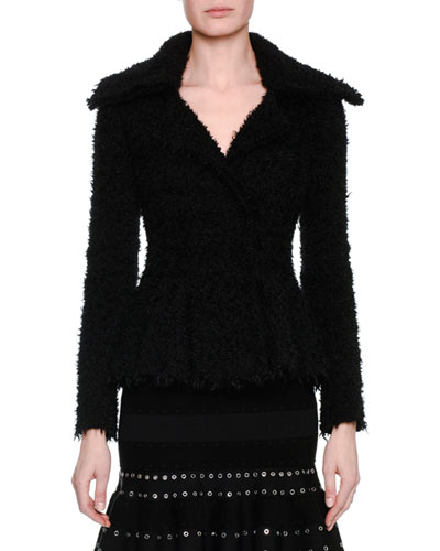 Textured Boucle Peplum Jacket, Black