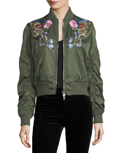 Floral-Embroidered Satin Bomber Jacket