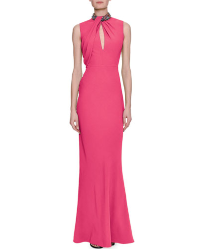 ALEXANDER MCQUEEN Sleeveless Column Gown With Embellished Halter ...