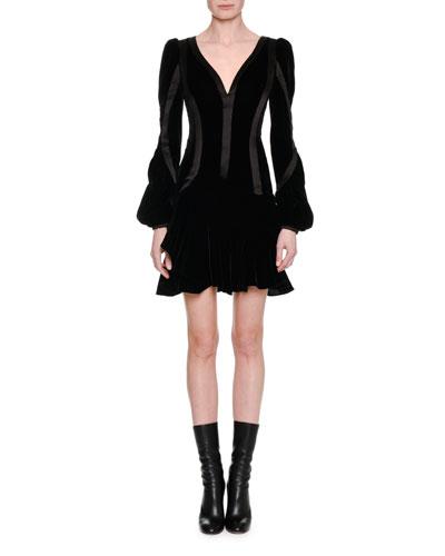 Satin-Trim Velvet Long-Sleeve Minidress, Black