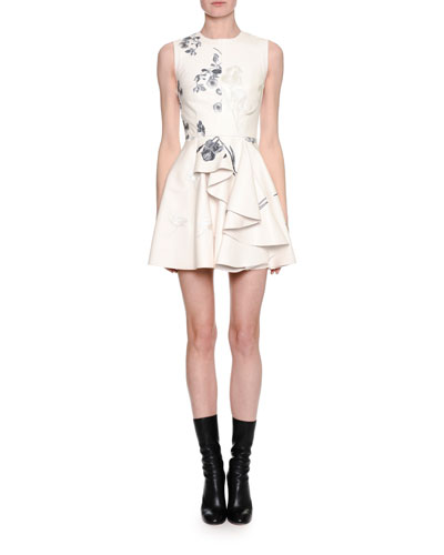 Sleeveless Embroidered Leather Side-Ruffle Minidress, White/Gray