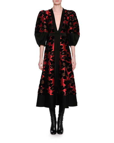 Lily Pad Jacquard & Velvet Midi Dress, Red/Black