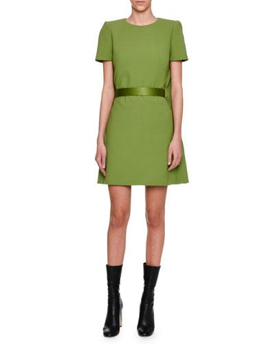 Cape-Back Short-Sleeve Minidress, Green