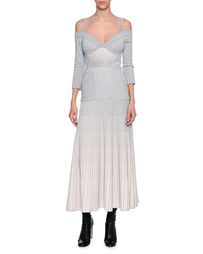 Cold-Shoulder Metallic Armour Knit Corset Midi Dress, White/Silver