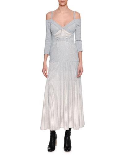 Cold-Shoulder Metallic Armour Knit Corset Midi Dress, White/Silver