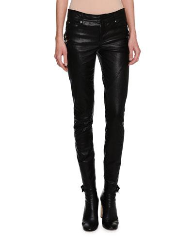 Lambskin Leather Biker Leggings, Black
