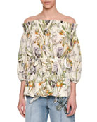 Wild Iris Off-the-Shoulder Blouse, Ivory