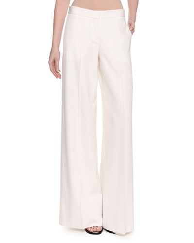 Wide-Leg Satin-Stripe Tuxedo Pants, White
