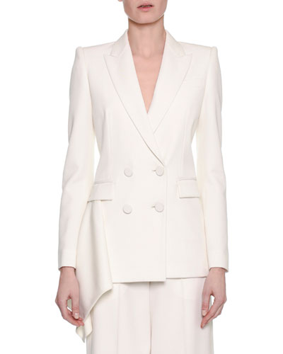 Double-Breasted Draped-Side Tuxedo Blazer, White
