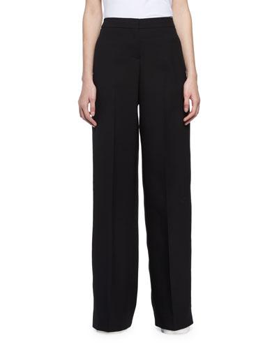 Wide-Leg Wool-Crepe Tuxedo Pants, Black