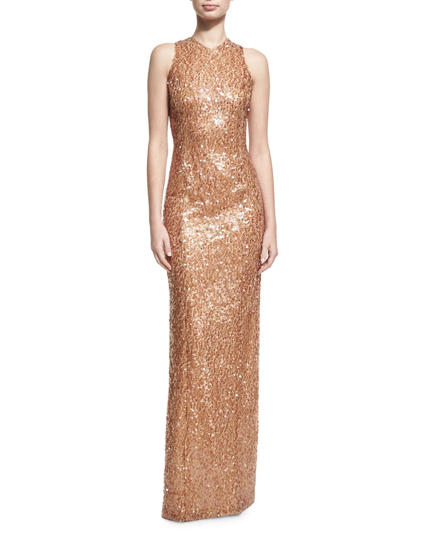 GALVAN Sequined Racerback Column Gown, Medium Brown, Metallic-Gold ...