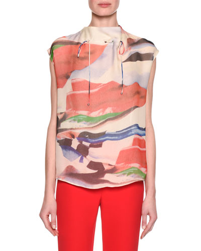 Abstract-Print Cap-Sleeve Funnel-Neck Top, Pink Pattern