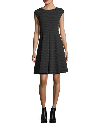 Cap-Sleeve Wave Jacquard Dress