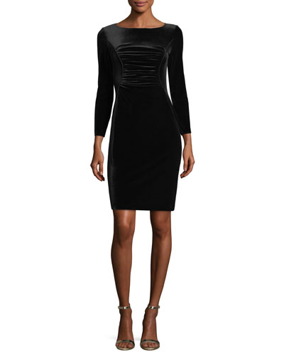 Ruched Stretch-Velvet Dress