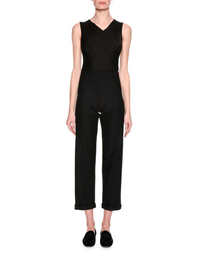 High-V Sleeveless Cropped Jumpsuit, Black