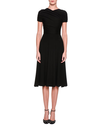 Cap-Sleeve Ruched Midi Dress, Black