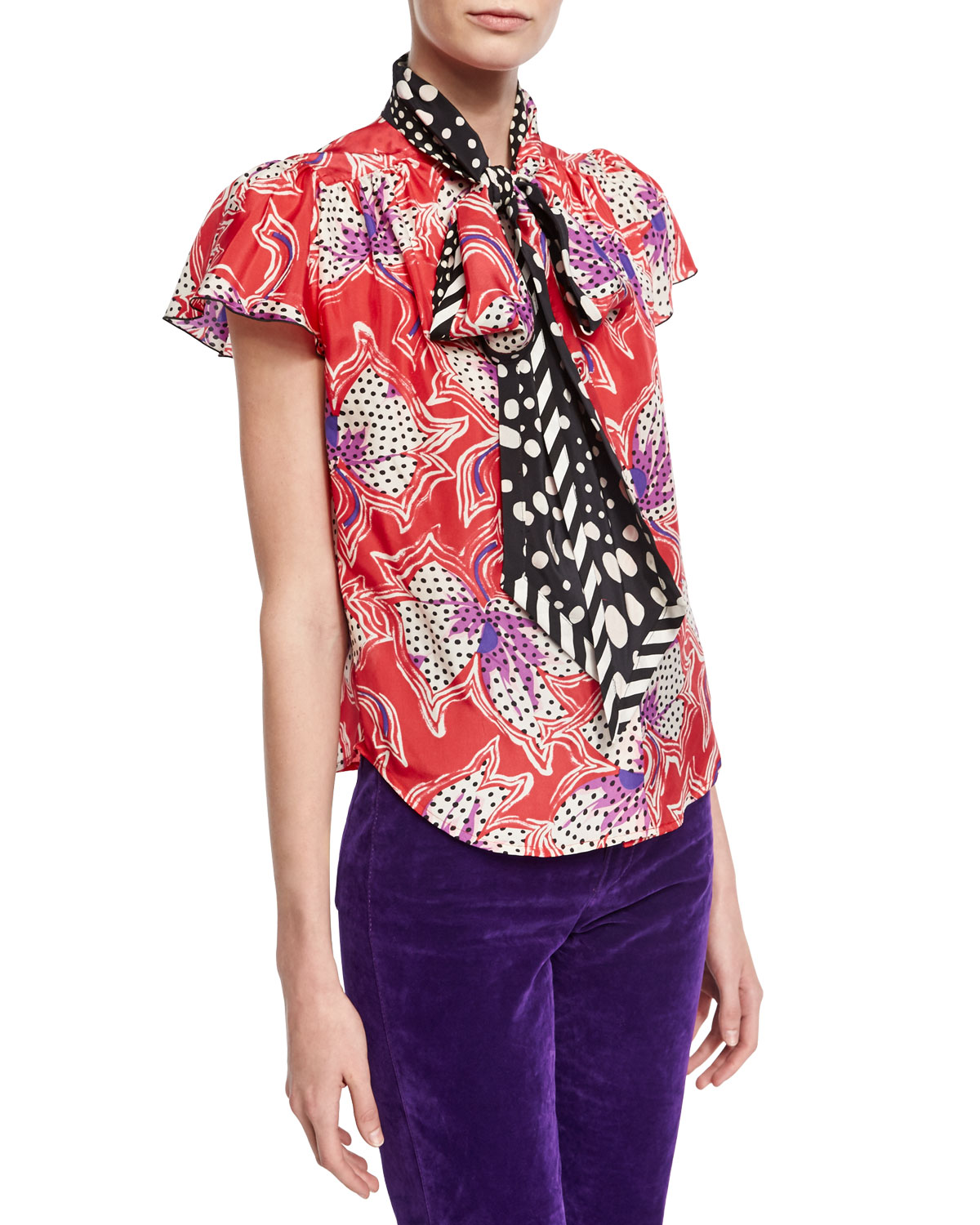 Spotted Lily Silk Tie-Neck Top, Red