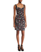 Painted Flowers Fitted Sleeveless Minidress, Black