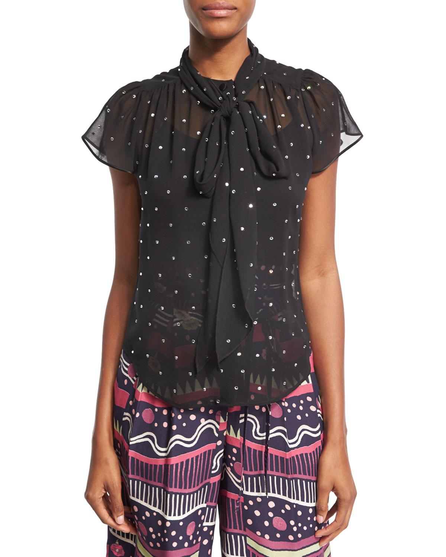 Crystal-Embellished Flutter-Sleeve Shirt, Black