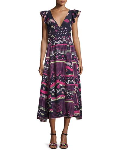Floral-Print Flutter-Sleeve Midi Dress, Blue