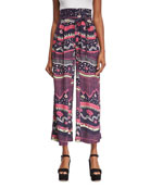 Morning Glories Tie-Waist Palazzo Pants, Navy