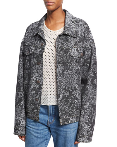 Oversized Lace-Print Denim Bomber Jacket, Black