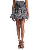 Lace-Print High-Waist Denim Ruffle Skirt, Black