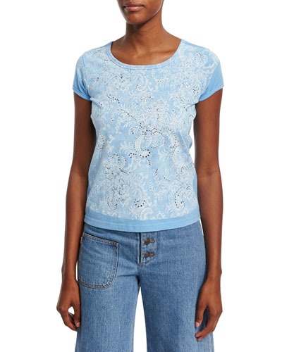 Lace-Print Strass T-Shirt, Blue