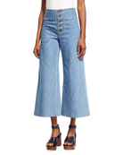High-Waist Wide-Leg Cropped Jeans, Indigo