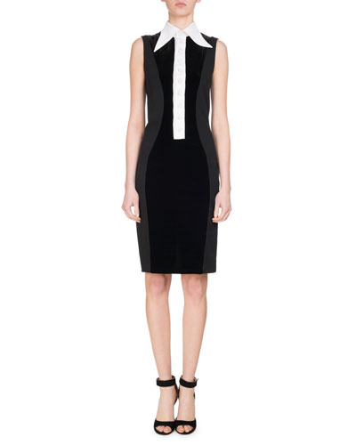 Velvet Jersey Dress w/Contrast Placket, White