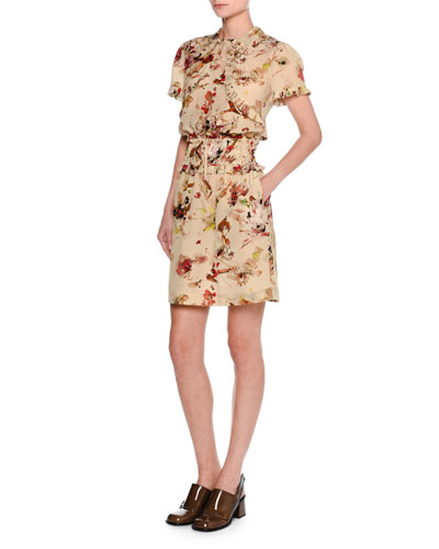 Cosmic Floral Short-Sleeve Minidress, Multicolor