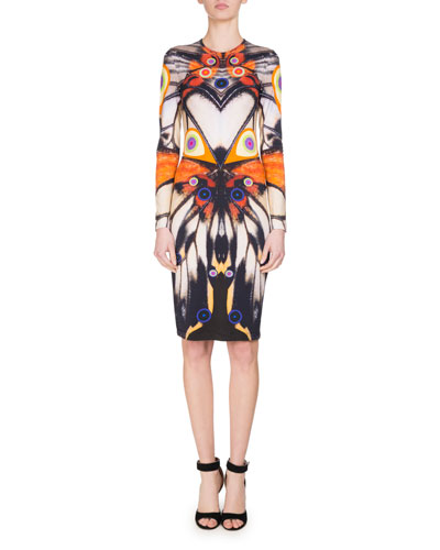 Long-Sleeve Butterfly-Print Jersey Dress, Multi